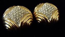 Vintage CINER Pave Rhinestone Gold Tone Large Couture Earrings - NICE