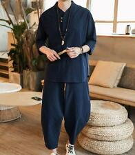 Men 2 Pieces Suit Shirt & Pant Linen Blend Loose Ethnic Retro Warm Button Casual