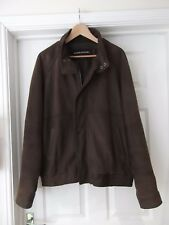 CHARLES KLEIN 100% Leather Jacket in Brown with Full Zip & Pockets Size XL