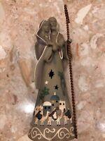 "Mary Joseph Baby Jesus Nativity Ceramic Christmas Candle Tealight Holder 12"""