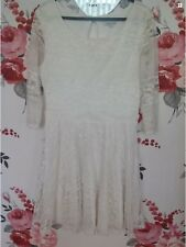 River Island Cream White Net Dress Size-10 Worn Once Only (C2)