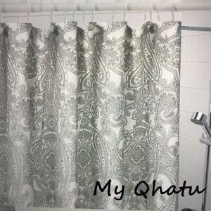 "IKEA Jattevallmo SHOWER CURTAIN Light Gray, Paisley 71""x 71"" fabric NEW"