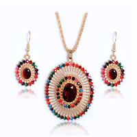 Woman Gold Plated Multicolor Crystals Hollow Oval Necklace Earrings Jewelry Set