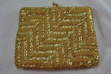 VINTAGE 1960s gold metallic beaded sequin clutch evening bag