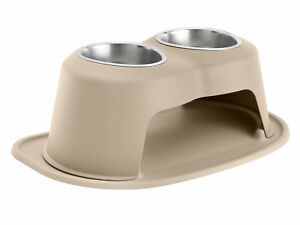 Pet Feeding System by WeatherTech Double High Stand for Dog/ Cat in Tan