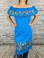 Knee Length Peasant Kimono Tunic Boho Embroidered Mexican Dress 100% Cotton S