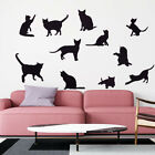 9pcs/lot Creative Lazy Black Cat Wall Sticker Home Decoration Wall Sticker