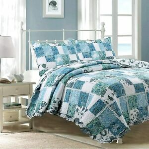 Cozy Line Home Fashions Calypso Real Patchwork Quilt Bedding Set, 3D White Lace