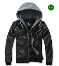 WFN007 Black Fashion Mens slim pu leather coat zipper detachable hooded jacket