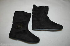 Girls BLACK FASHION SLOUCH BOOTS Adj Buckle FAUX SUEDE Flat Heel ZIPPER Size 1