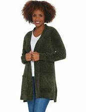 Denim & Co Olive Green Chenille L/S Open Front Petite Cardigan Sweater New