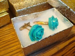 1 Pair(2) Turquoise Rose Flower Design Hamilton Gold Plated Cuff links Gift Box