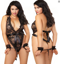 New!! Black Lace Crisscross Halterneck Teddy Size 6-16