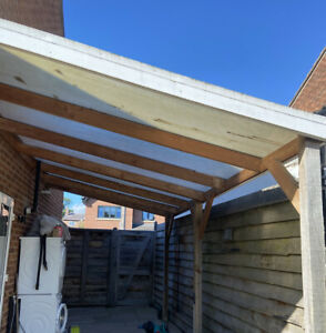 Timber Lean To Car Port With Ribbed Polycarbonate Roof Used