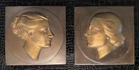 2 Extremely Rare Original Frankart 1920's 1930's Nude Lady Art Deco Wall Plaques