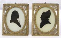 Antique Pair Richards Man Woman Portrait Silhouettes Ornate Frames Germany 1880s