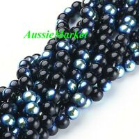 50 x beads glass black AB colour two tone loose round 8mm craft jewellery making