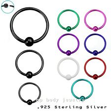 """1PC. 22g~1/4"""", 5/16"""", 3/8"""" Plated .925 Sterling Silver 2mm Fixed Ball Nose Hoop"""