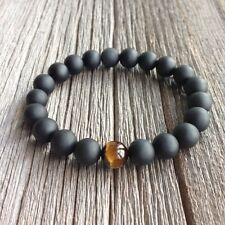 Men's Beaded Stretch Matte Onyx Bracelet With Single Tigers Eye Bead