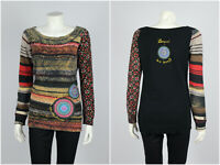 Womens Desigual Tunic Long Sleeve Geometric Aztec Multicolor Cotton Size L