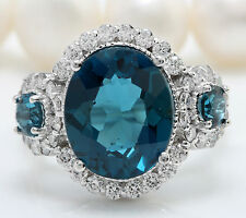 4.70 CTW Natural London Blue Topaz and Diamonds in 14K Solid White Gold Ring