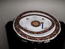 Bacchus T.Limoges, France, pedestal bowl and platter with orig. tag, blue & gold