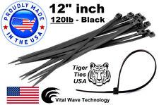 "200 Black 12"" inch Wire Cable Zip Ties Nylon Tie Wraps 120lb USA Made Tiger Ties"