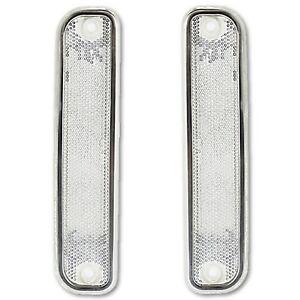 73-80 Chevy Chevrolet GMC Truck Clear Side Marker Light Lamp Lens w/ Trim Pair