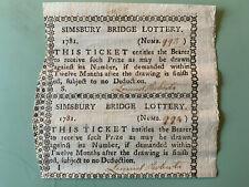 1781 Uncut Pair - Simsbury Bridge Lottery Tickets