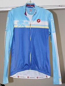 Team Castelli Cycling Jacket, Women's Large, MCycliste Blue, Palm Tree - EUC