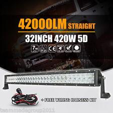 "5D CREE STRAIGHT 32INCH / 35"" 420W LED SPOT FLOOD LIGHT BAR WORK LAMP COMBO CAR"
