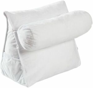Wedge Shaped Backrest Pillow with Detachable Bolster for Watching TV and Reading