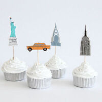 12 x New York Empire State Cake Picks Cupcake Toppers Flags Kids Birthday Party