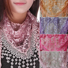 Chic Lady Lace Floral Knit Triangle Veil Church Mantilla Scarf Shawl Wrap Tassel