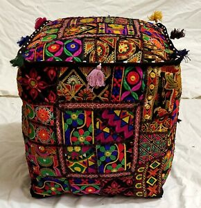 """Handmade Indian Cotton Patchwork Poufs Cover Footstool Ottoman 18X18X18"""" Inches"""