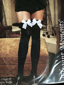 BNWT Elegant Moments Sheer Thigh Hi With Bow And Ruffle (1718) One Size Black