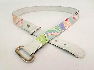 Talbots Belt XL 36 37 Pebbled Leather Trim Waist White 6800