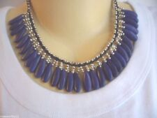 VINTAGE ETHNIC HANDMADE TRIBAL SILVER BEAD NECKLACE WITH BLUE POTTERY BEADS