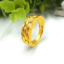 24k Yellow Gold Filled Ring 6MM Thick Adjust Braid Charm Band GF Fashion Jewelry