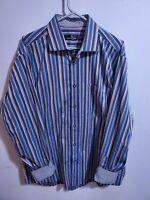 Bugatchi Uomo Mens Blue Striped Flip Cuff Button Up Shirt Sz XL