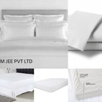 Fitted Bed Sets Flat Sheets 1900 series 16 Deep Pocket 100% Cotton Satin(White)