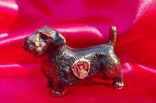 Vintage copper patina metal dog Sealyham Terrier Sealy New York Badge souvenir