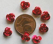 20 perles fleurs roses métal aluminium 6mm ROUGE DIY création bijoux