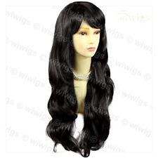Wiwigs Beautiful Black Brown Long Layered Way Skin Top Ladies Wig