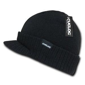Black Visor Brim Jeep Knit Warm Winter Ski Skull Beanie Beanies Cap Hat Hats