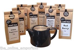 BLACK FOR LIFE 18oz (530ml/2 CUP) TEAPOT & STRAINER WITH SUKI LOOSE LEAF TEA