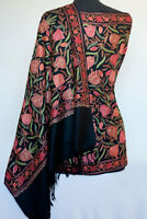 Multicolored, Crewel Embroidery on Black, Wool Shawl. Embroidered Kashmir Stole