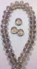 10 PERLE AMBRA CHIARO BOREALE 8 mm MEZZI CRISTALLI SFACCETTATI beads BIGIOTTERIA