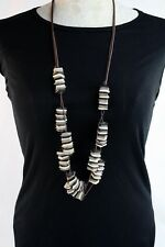 Necklace Handmade Layered Natural Coco Wood Beads In Bone Grey Black Brown