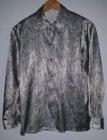 Ladies Shirt Size 8 Black Silver Viyella <MJ3994